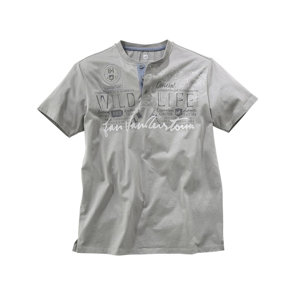 Jan Vanderstorm T-Shirt »REIDAR«, Baumwollshirt mit Knopfleiste