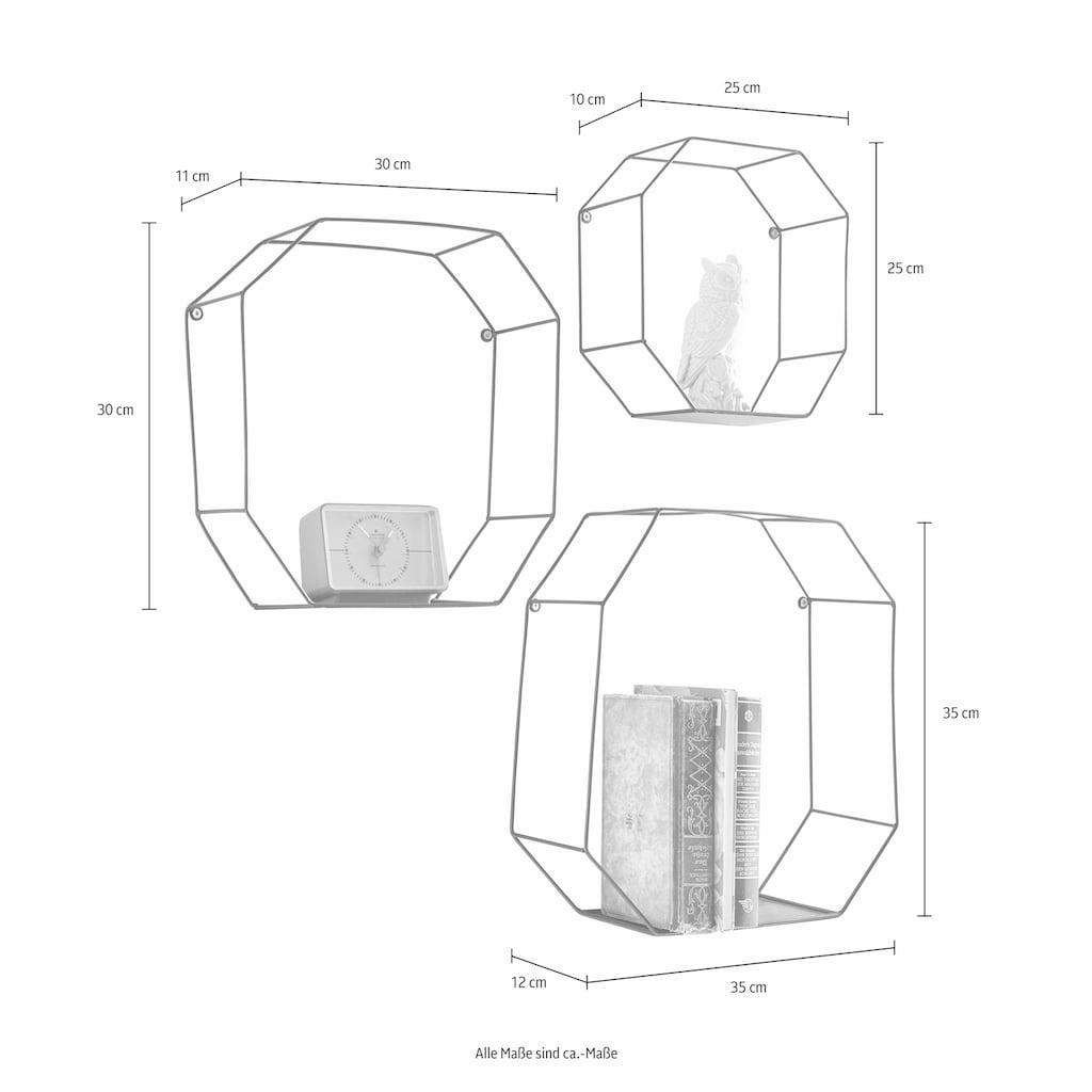 Creativ home Wandregal, (Set, 3 St.), Dekoregal, Wanddeko, bestehend aus achteckigen Elementen