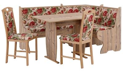 Home affaire Eckbankgruppe »Minden 1«, (Set, 4 tlg., Die Stühle weichen in der Farbe ab.), im rustikalen Landhausstil kaufen