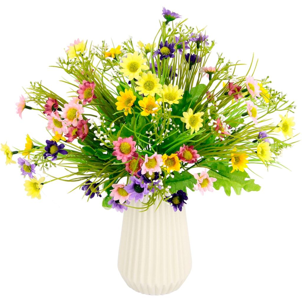 I.GE.A. Kunstblume »Margeriten-Mix«, Vase aus Keramik