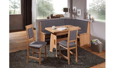 SCHÖSSWENDER Eckbankgruppe »Isar«, Eckbank umstellbar, mit Auszug links und rechts 110(180)cm, Stühle massiv kaufen