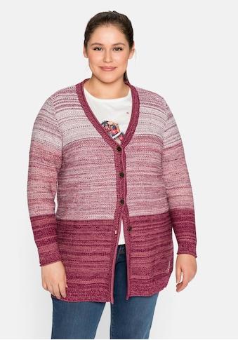 Sheego Longstrickjacke, aus strukturiertem Baumwollmix kaufen