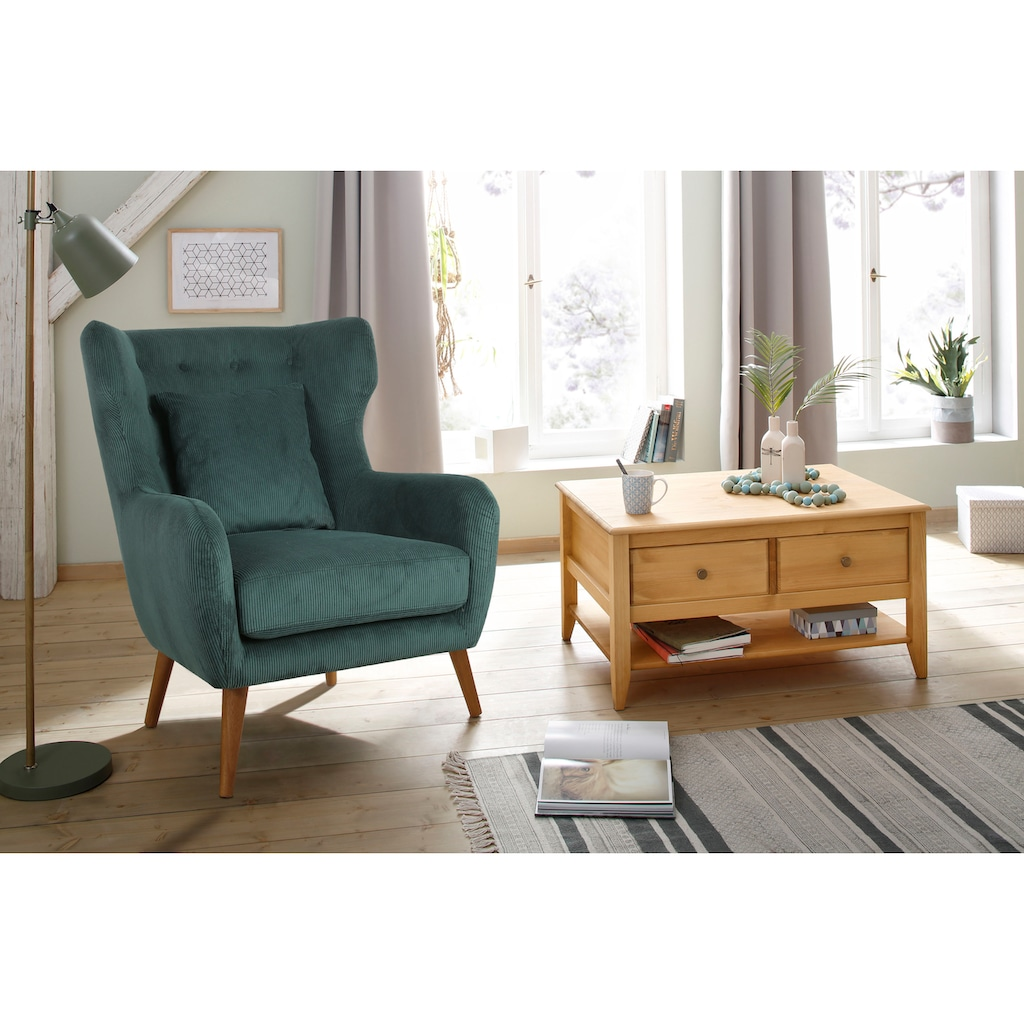 Home affaire Ohrensessel »Yamuna«, mit toller Sitzpolsterung, Gestell und Füße aus Massivholz, Sitzhöhe 57 cm