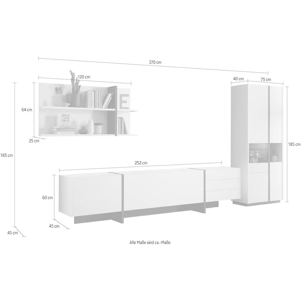 INOSIGN Wohnwand »CAiO«, (Set, 3 St.), Breite ca. 370 cm