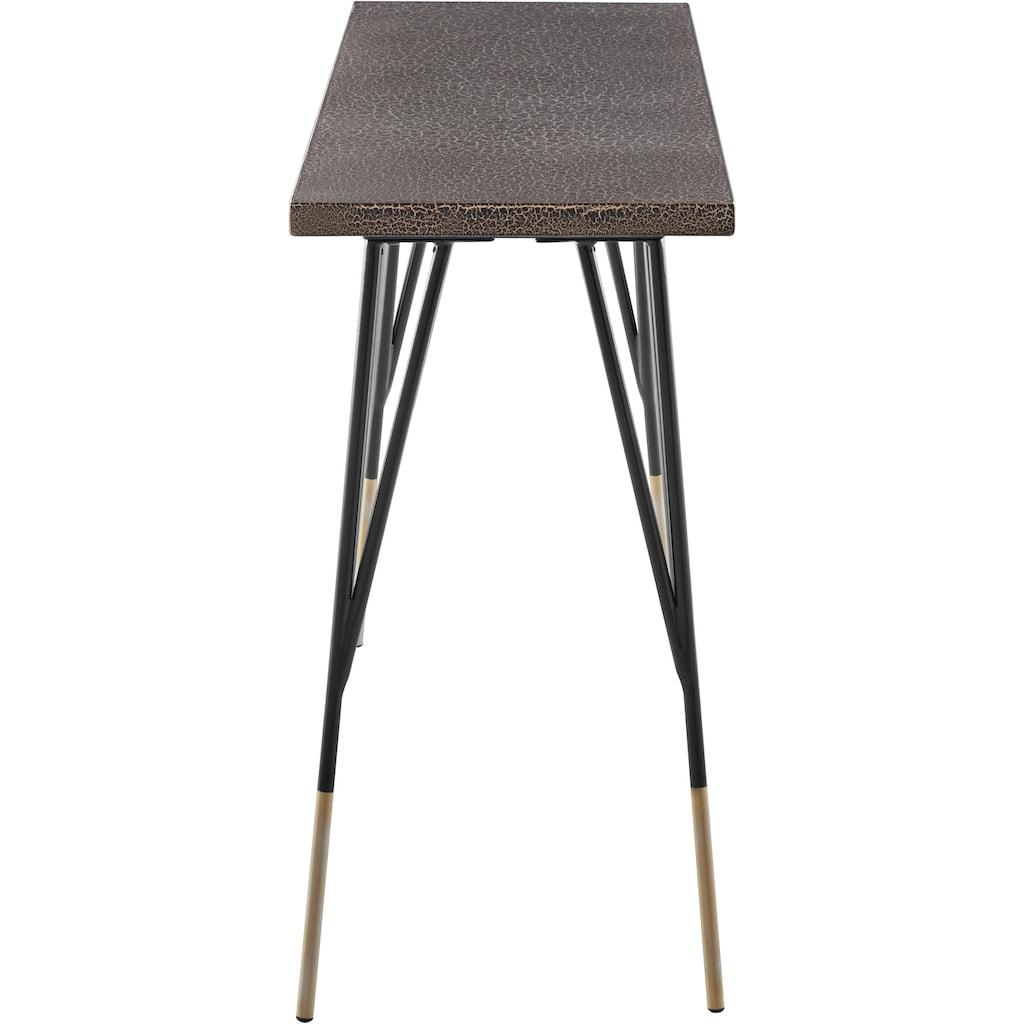 INOSIGN Konsolentisch »Clinch«, aus schönen schwarzen Metallbeinen und goldfarbenen Endbeinen, Breite 120 cm