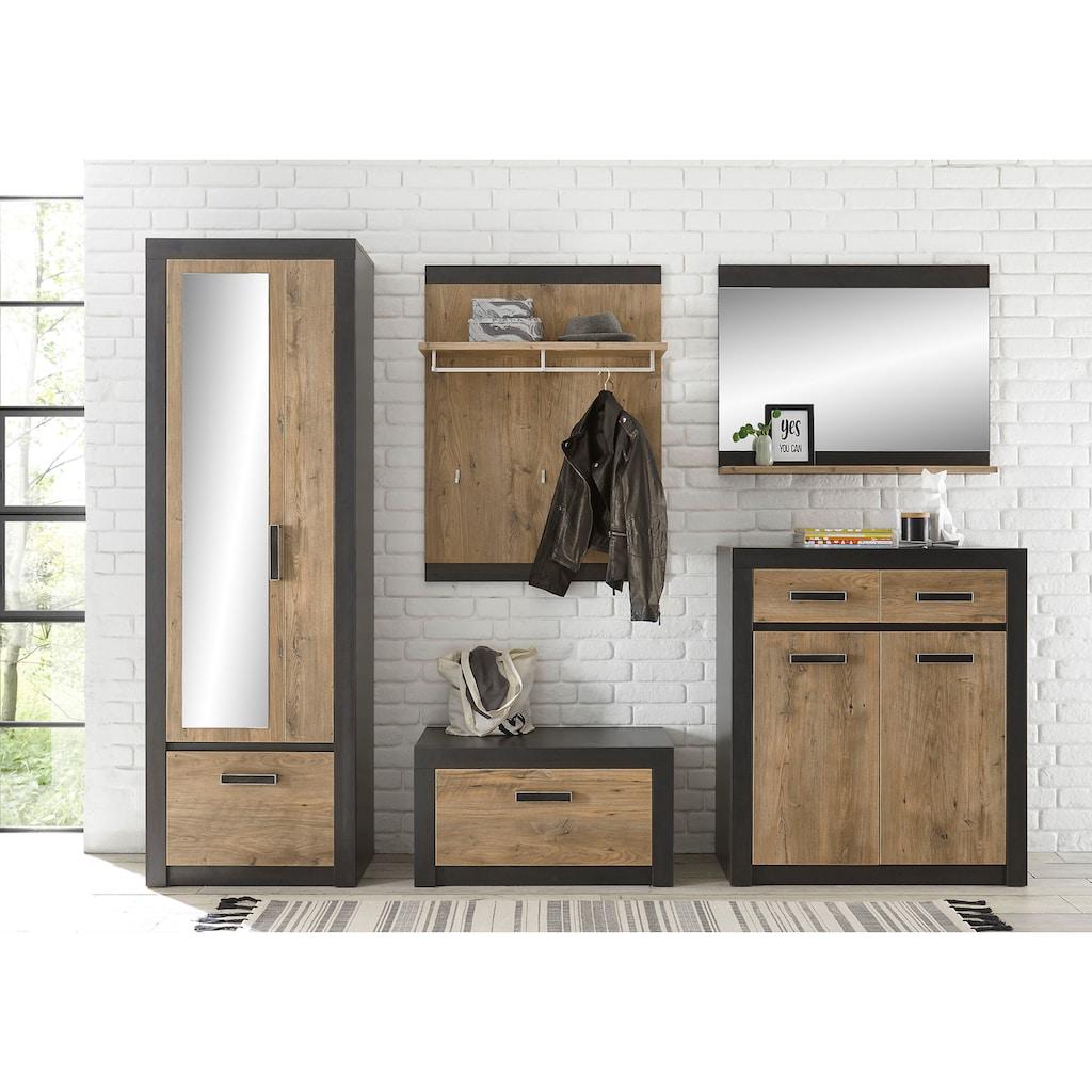 my home Garderoben-Set »BRÜGGE«, (Komplett-Set, 5 tlg., bestehend aus Garderobenschrank mit Spiegel, Kommde, Spiegel, Garderobenbank und -paneel), mit einer dekorativen Rahmenoptik