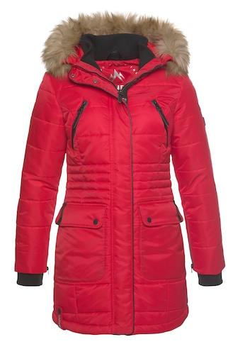 ALPENBLITZ Steppjacke »Schneeglanz«, edle Winterjacke mit Rippenstehkragen und abnehmbaren Kunstfell an der Kapuze kaufen