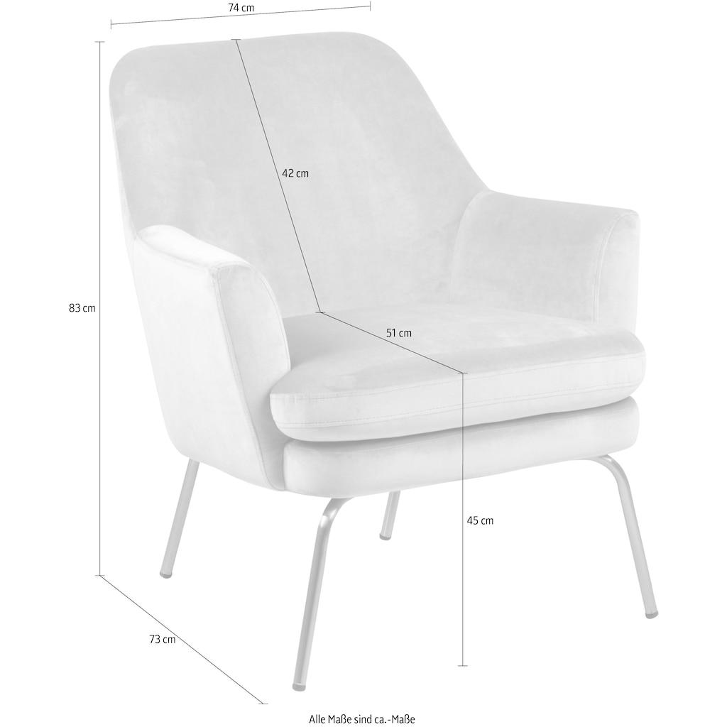 andas Loungesessel »Christoph«, mit unterschiedlichen Beinfarben und verschiedenen Bezugsqualitäten und Farbvarianten auswählbar