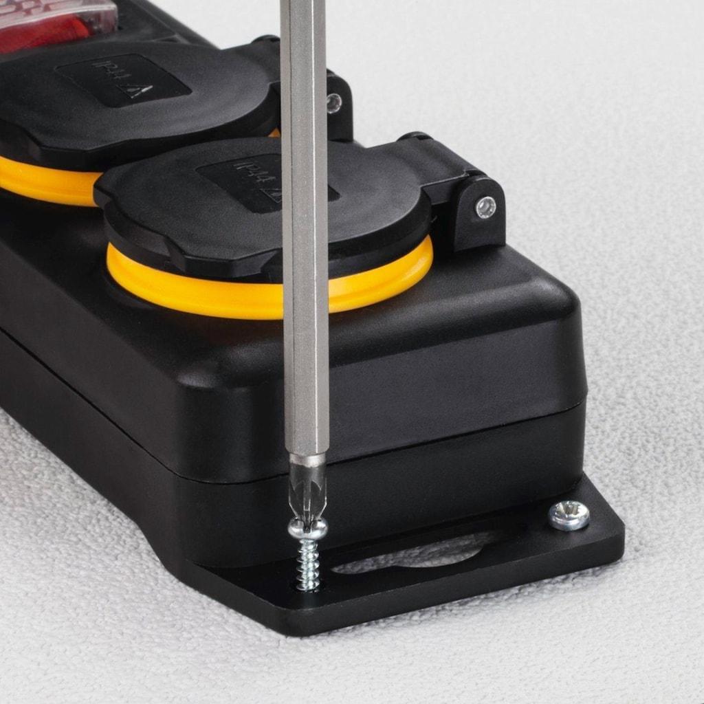 Hama Outdoor Steckdosenleiste mit Schalter, 6-fach, 2m