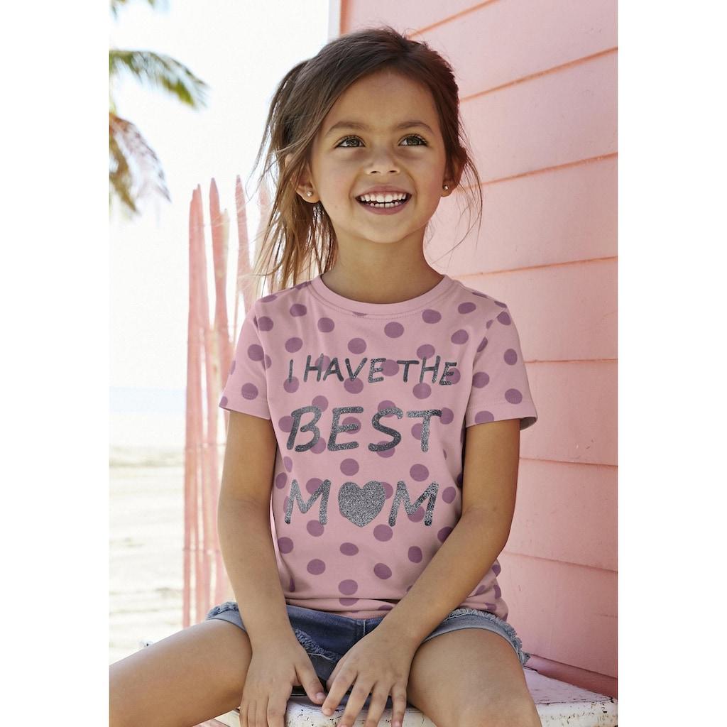 KIDSWORLD T-Shirt »BEST MOM«, süßer Glitzerdruck