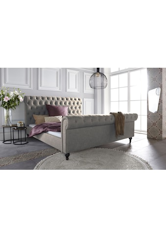 Leonique Polsterbett »Belaja«, mit schnöner Knopfheftung und dekorativen Holzfüßen kaufen