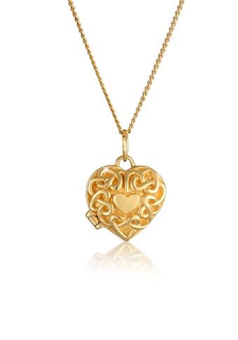 Elli Collierkettchen »Herz Ornament Amulett Medaillon 585 Gelbgold« kaufen