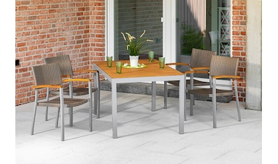 MERXX Gartenmöbelset »Silano«, (5 tlg.), 4 stapelbare Gartensessel, Gartentisch kaufen
