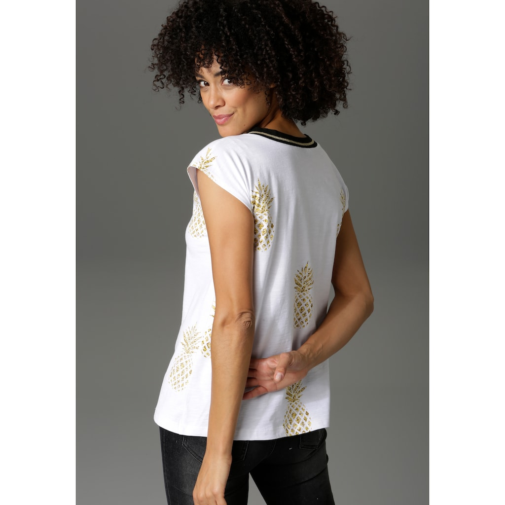Aniston CASUAL T-Shirt, allover mit Ananas bedruckt - NEUE KOLLEKTION