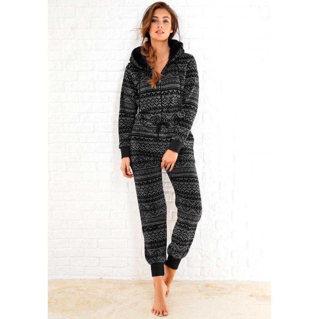 Rebelle Jumpsuit, aus Fleece in schwarz-grauem Norwegerdesign