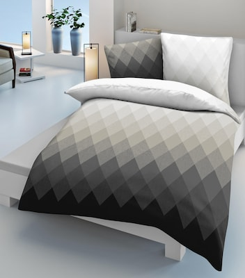 Grau-Weiß gemusterte Bettwäsche