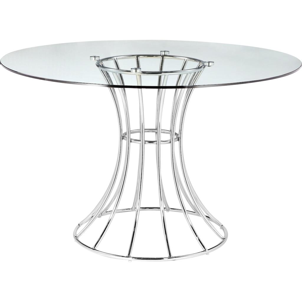 Leonique Esstisch »Danice«, Gestell aus verchromten Metall, Glastisch