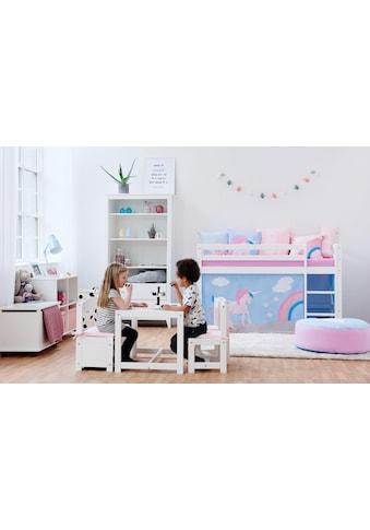 Hoppekids Hochbett »Einhorn«, inkl. Vorhang-Set, Matratze und Rollrost kaufen