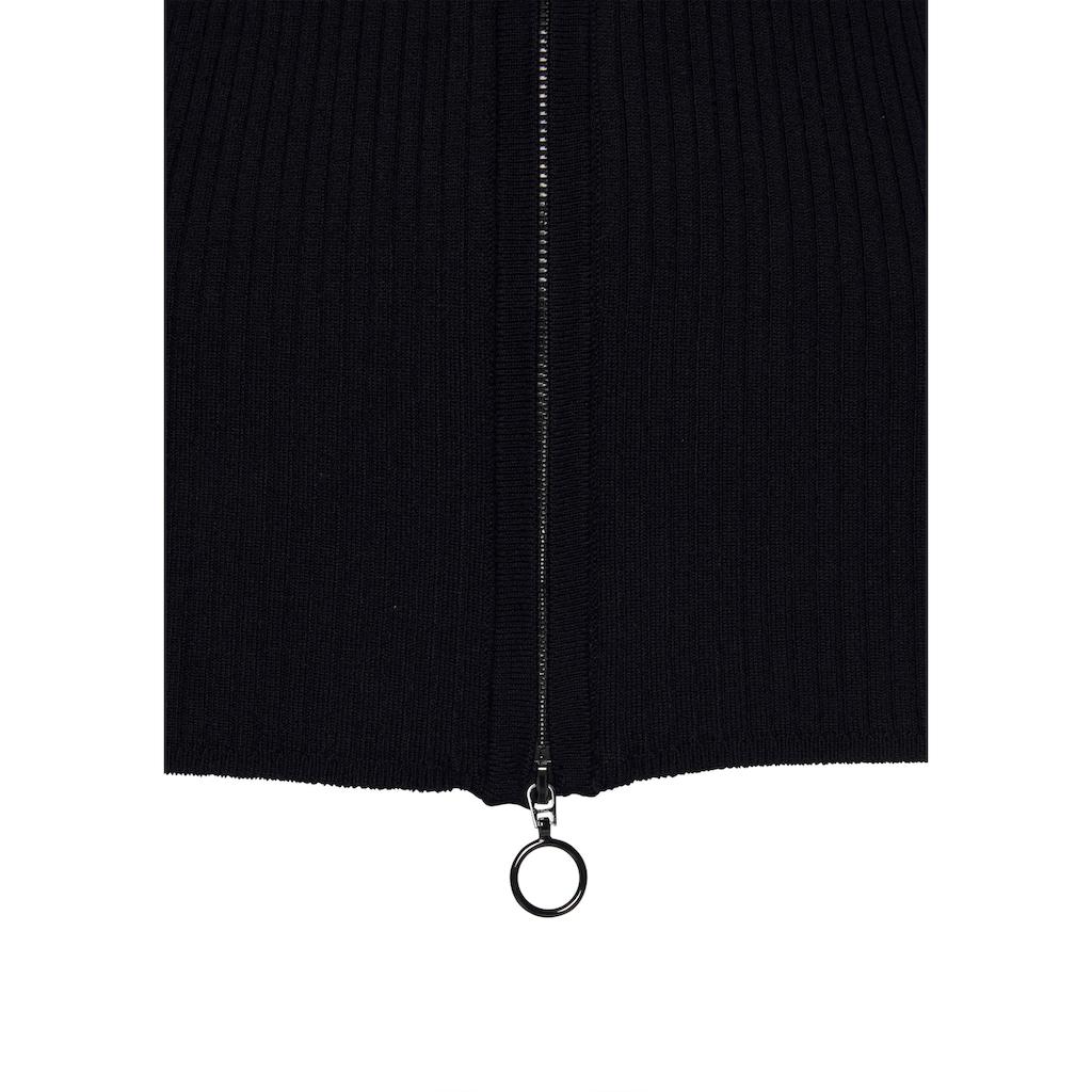 LASCANA Strickjacke, mit Reißverschluss