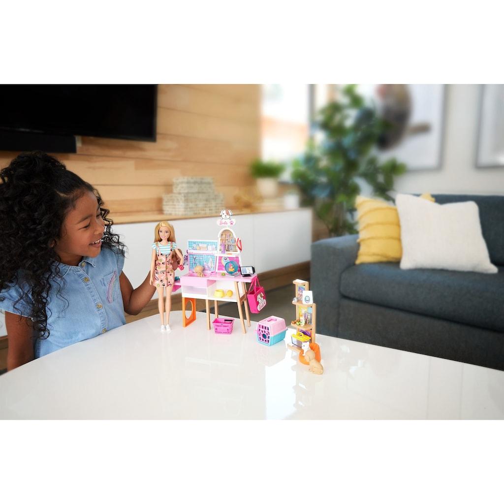 Barbie Anziehpuppe »Haustiersalon Spielset und Puppe«, (Set, 20 tlg., inkl. 4 Haustiere)