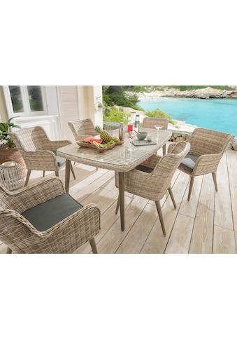 DESTINY Gartenmöbelset »Correda«, 13 - tlg., 6 Sessel, Tisch 178x98 cm, Alu/Polyrattan kaufen