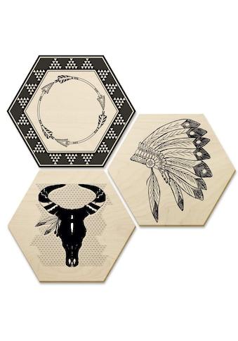 Wall-Art Mehrteilige Bilder »Ethno Indianer Boho Collage«, (Set, 3 St.) kaufen