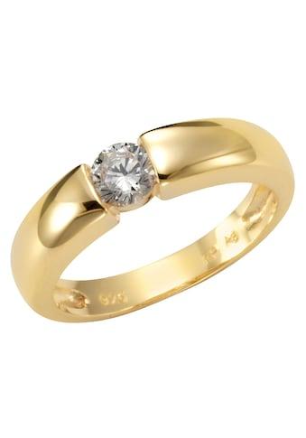 Firetti Silberring »Spannring-Optik, glänzend vergoldet, klassisch«, mit Zirkonia kaufen