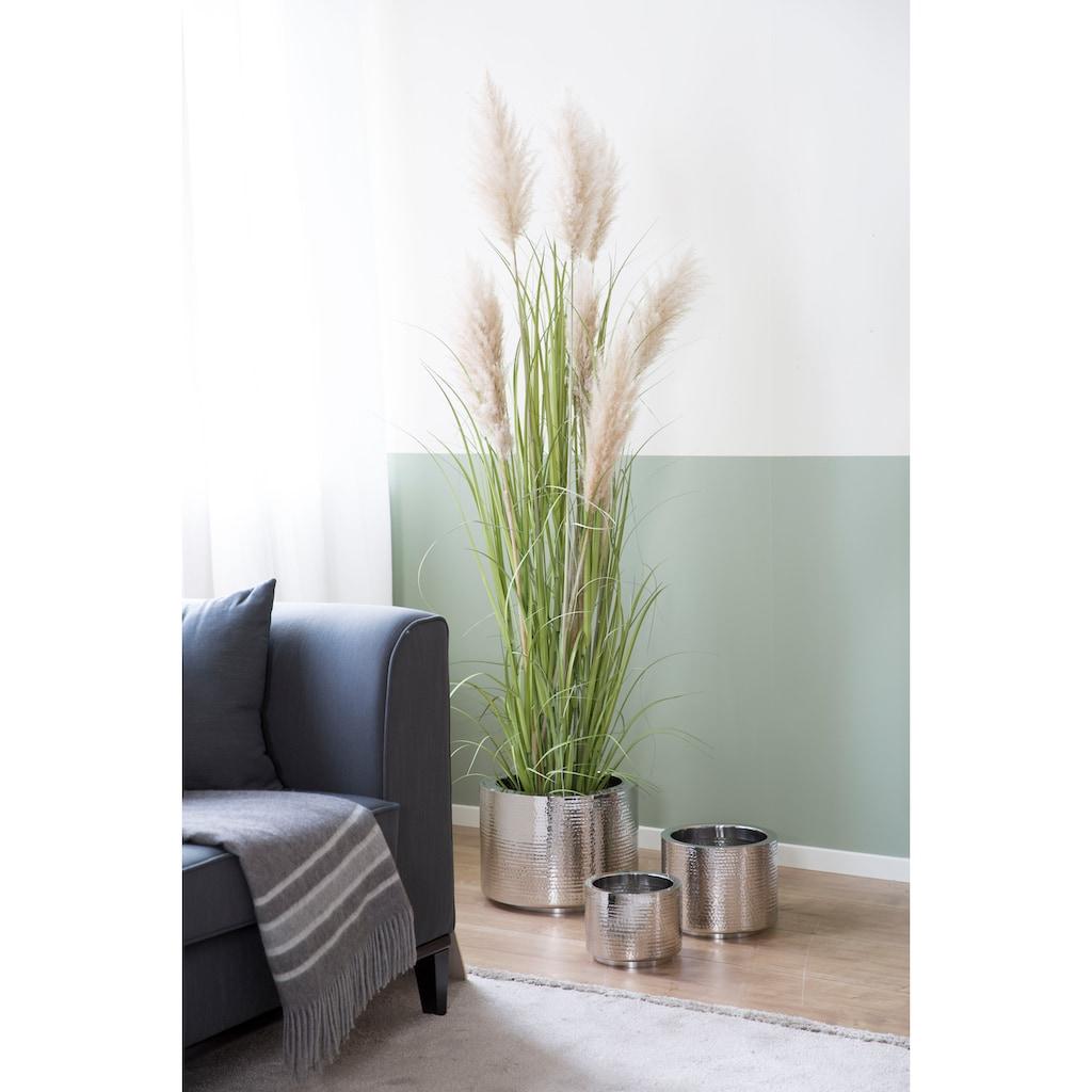 Fink Übertopf »NOSSA, silberfarben«, (1 St.), handgefertigt, aus Metall, mit Hammerschlagstruktur, in verschiedenen Größen erhältlich, Wohnzimmer, In- und Outdoor geeignet, Pflanzübertopf, Blumenübertopf, Blumentopf