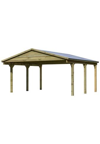 Karibu Doppelcarport »Classic«, Holz, 480 cm, braun kaufen