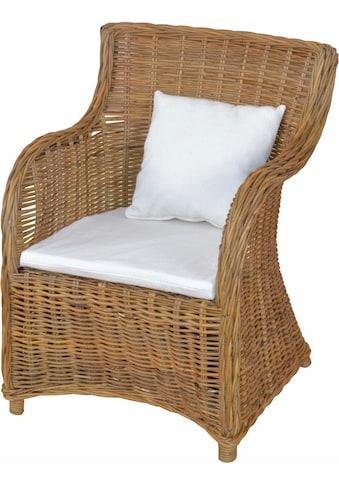 Home affaire Rattanstuhl, aus handgeflochtenem Rattan und großer Sitzschale, Breite 62 cm kaufen