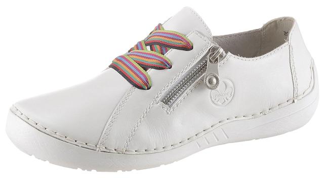 weiße Sneakers aus Leder mit seitlichem Reißverschluss und bunten Schuhbändern