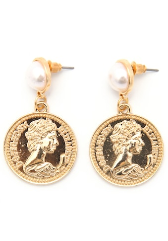 J.Jayz Paar Ohrstecker »Coins, rund, vergoldet«, mit Acrylperlen kaufen