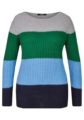 FRAPP Kuscheliger Pullover mit breiten Ringeln Plus Size kaufen