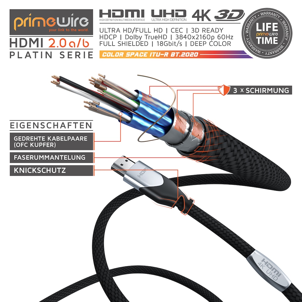 Primewire HDMI Kabel 2.0a / 2.0b / Ultra HD 4k 60Hz 18 Gbit/s
