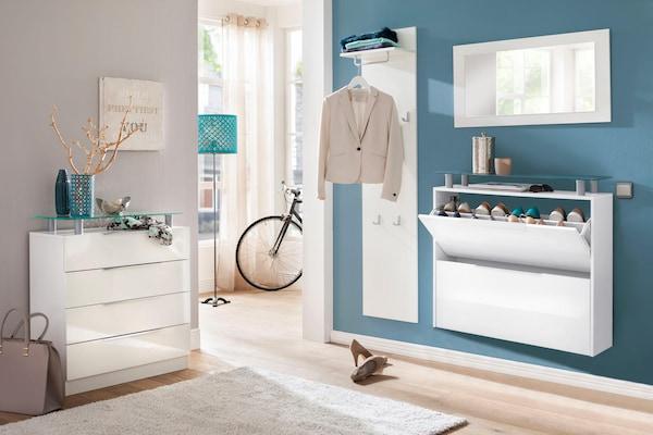 weißes Garderoben-Set mit Kommode, Schuhschrank, Garderobenpaneel und Spiegel