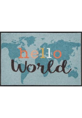 wash+dry by Kleen-Tex Fußmatte »Hello World«, rechteckig, 7 mm Höhe, Fussabstreifer,... kaufen
