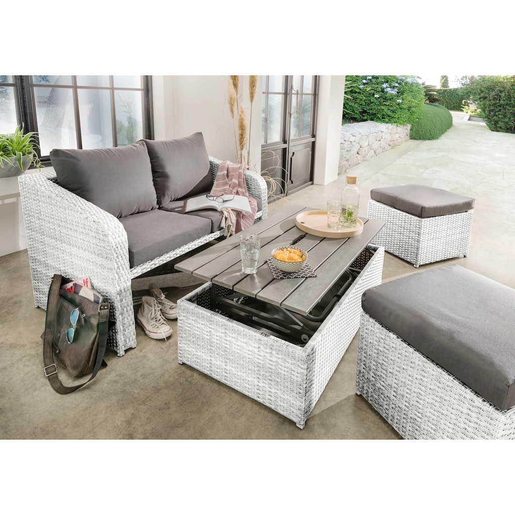 Destiny Balkonset »Jersey II«, (10 tlg.), Lounge-Set mit Polsterauflagen, höhenverstellbarer Tisch 22-55 cm