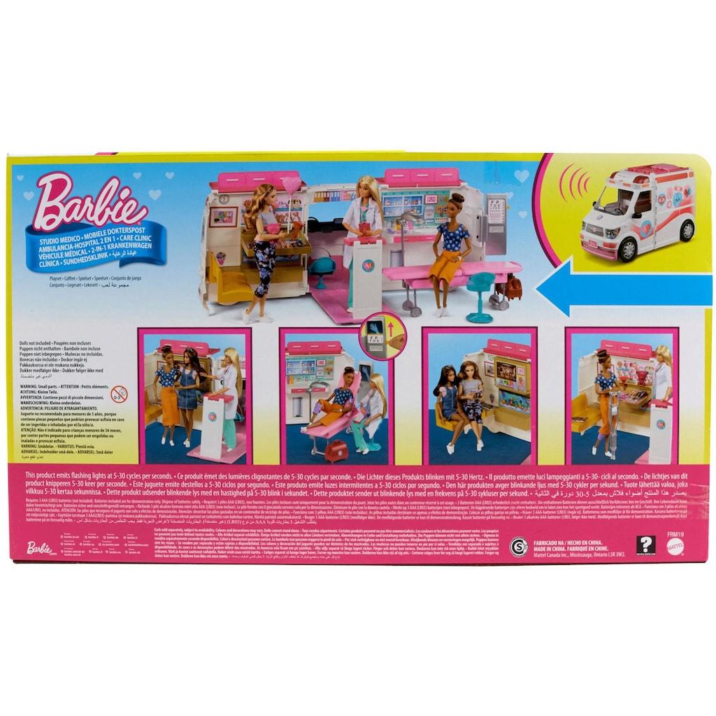Barbie Puppen Fahrzeug »Krankenwagen 2-in-1 Spielset«, mit Licht & Geräuschen