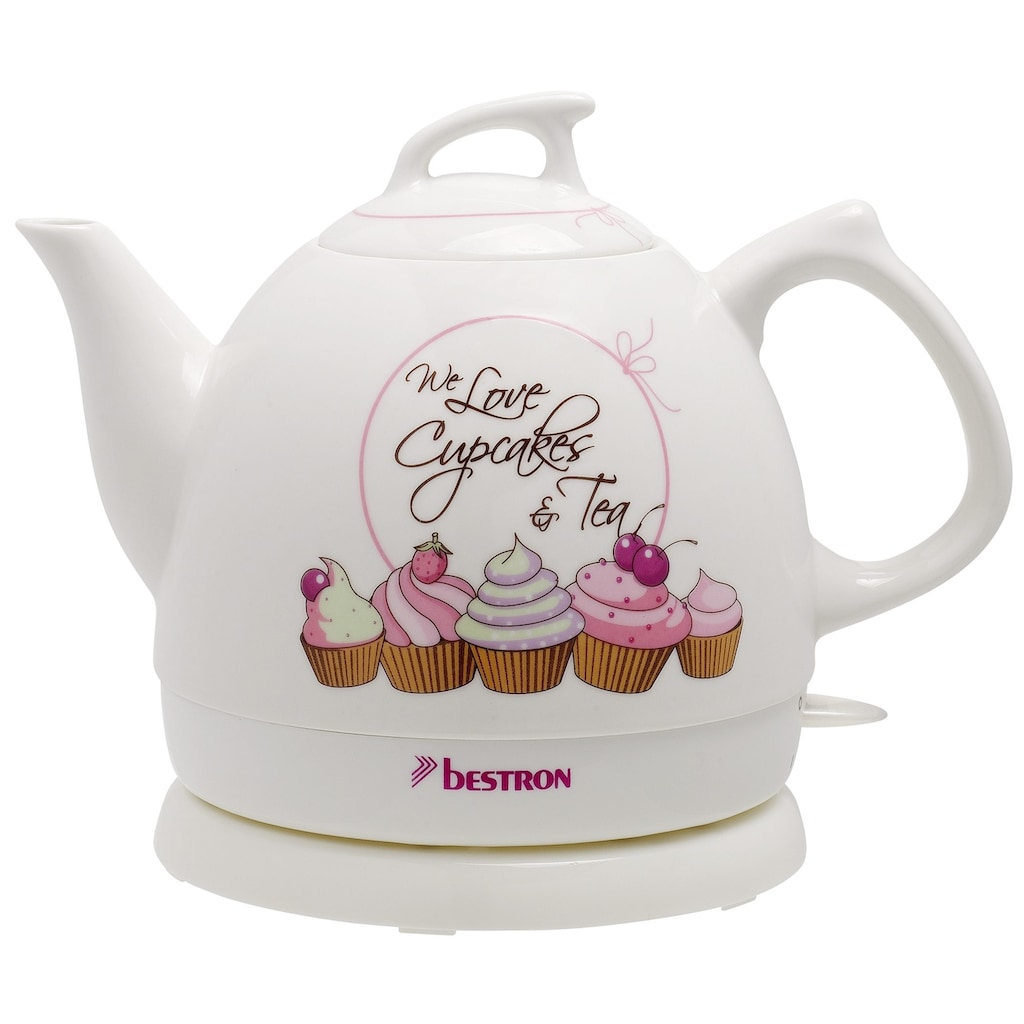 bestron Wasserkocher »Sweet Dreams«, 0,8 l, 1800 W, im Retro Design, Keramik, Weiß