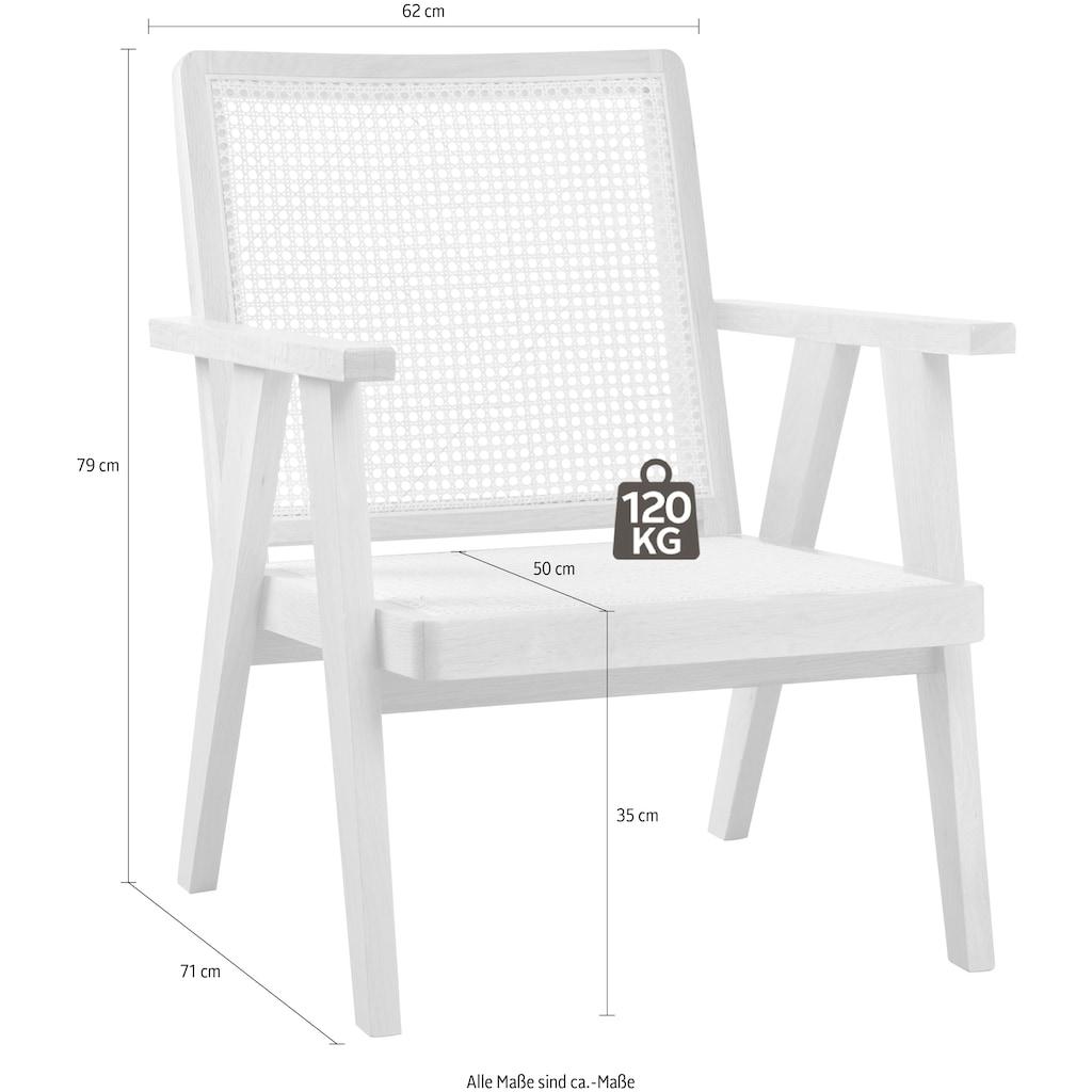 LeGer Home by Lena Gercke Rattanstuhl »Alena«, mit Rattan Einsätzen in der Rückenlehne und Sitzfläche