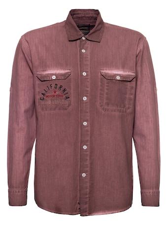 KingKerosin Langarmhemd »California Bear«, mit Stickereien und Oilwash-Effekt kaufen