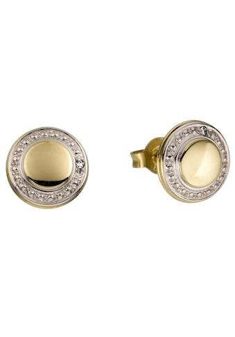 Firetti Paar Ohrstecker »Glanz, rhodiniert, hohl, rund, bicolor«, Made in Germany, mit Diamanten kaufen