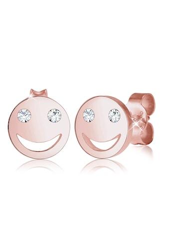 Elli Paar Ohrstecker »Smiley Face Emoji Kristalle 925 Silber« kaufen