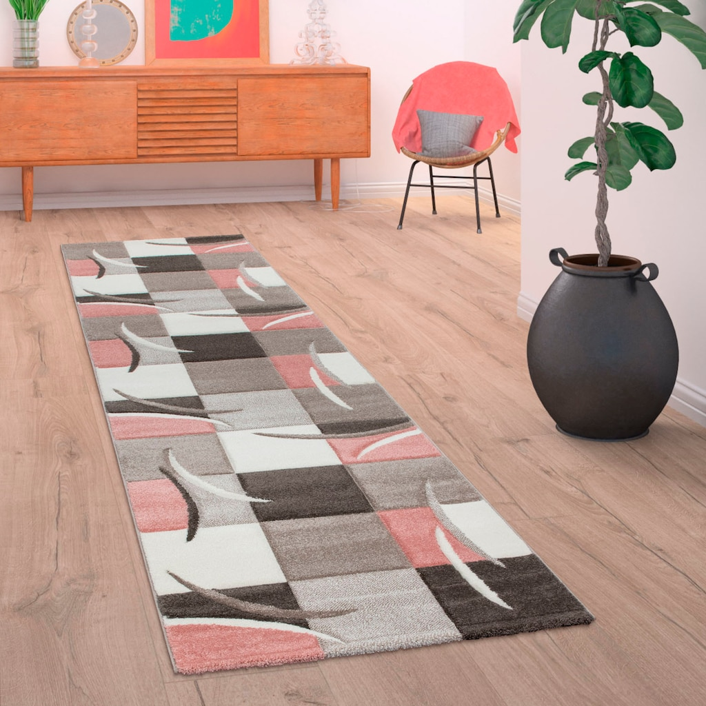 Paco Home Läufer »Lara 235«, rechteckig, 18 mm Höhe, Teppich-Läufer, gewebt, kariertes Design in schönen Pastell-Farben