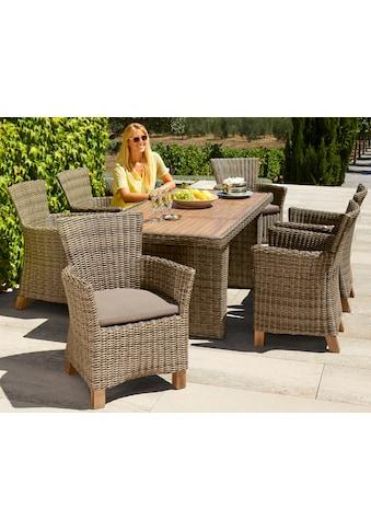 MERXX Gartenmöbelset »Toskana«, 13 - tlg., 6 Sessel, Tisch 185x90 cm, Polyrattan/Akazie kaufen