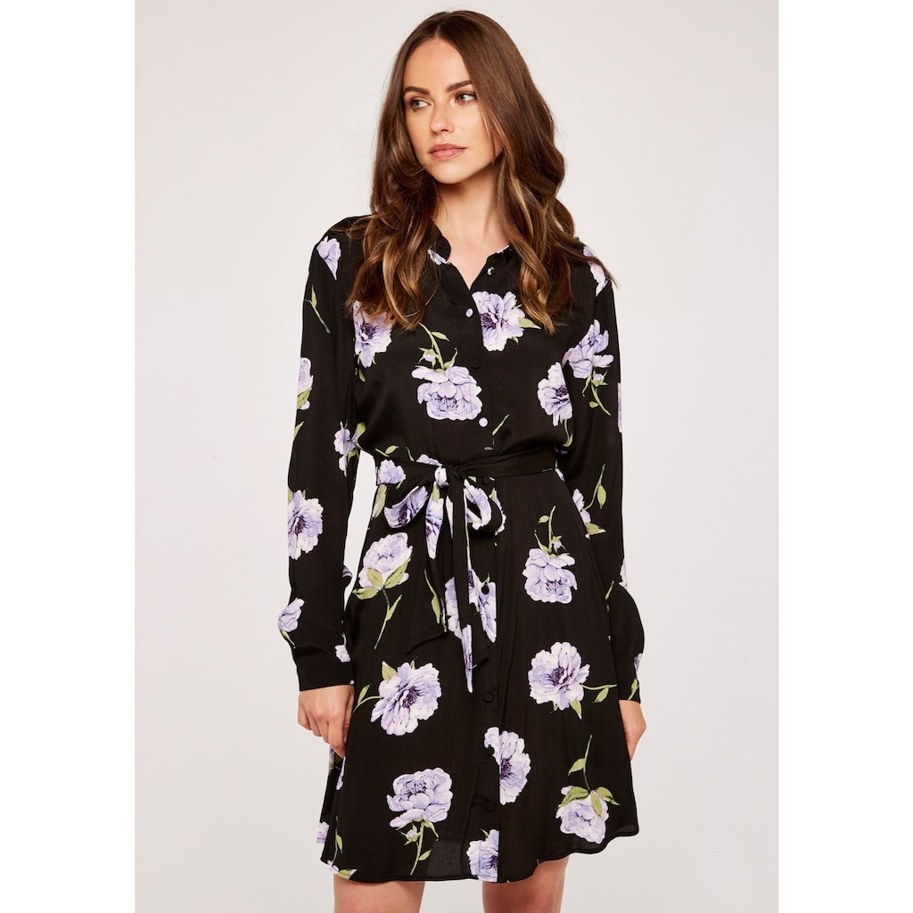 Apricot Hemdblusenkleid »Peony Print Self Tie Shirt Dress«, (mit Bindeband), mit Bindegürtel