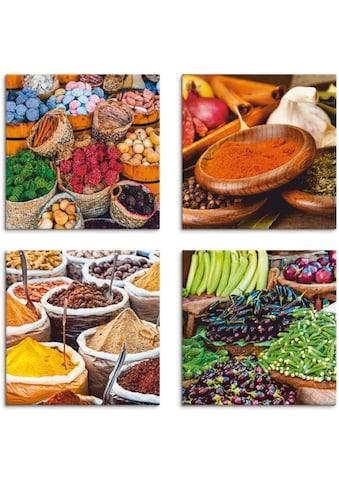 Artland Leinwandbild »Gewürz und Kräuter Sortiment«, Lebensmittel, (4 St.) kaufen