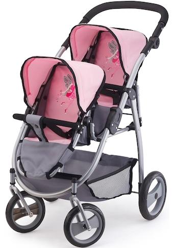 Bayer Puppen-Zwillingsbuggy »rosa/grau« kaufen