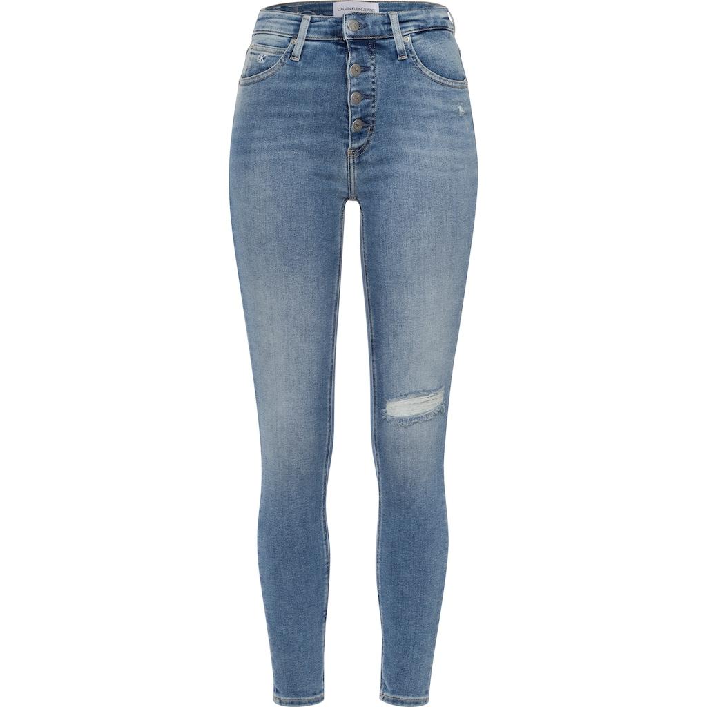 Calvin Klein Jeans Skinny-fit-Jeans »HIGH RISE SUPER SKINNY ANKLE«, mit Destroyed-Elementen