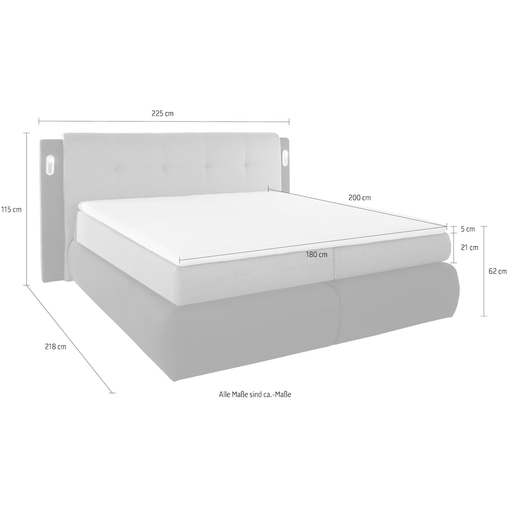COLLECTION AB Boxspringbett »Borna«, inklusive Bettkasten, LED-Beleuchtung und Topper
